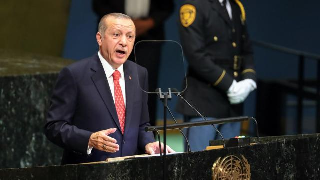FILE -- President Recep Tayyip Erdogan of Turkey addresses the U.N. General Assembly at U.N. headquarters in New York, Sept. 25, 2018. Erdogan and Mohammed bin Salman, Saudi Arabia's crown prince, have not had the easiest relationship, even before the disappearance of Jamal Khashoggi. (Chang W. Lee/The New York Times)