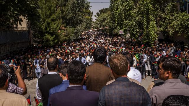 FILE -- A rally for Asadullah Khalid's new political party, in Kabul, Afghanistan, Aug. 2, 2018. If there is a common theme to the alarm that seems so widespread this election season, it is a sense that no one see a clear path through Afghanistan's minefield of crises. (Jim Huylebroek/The New York Times)