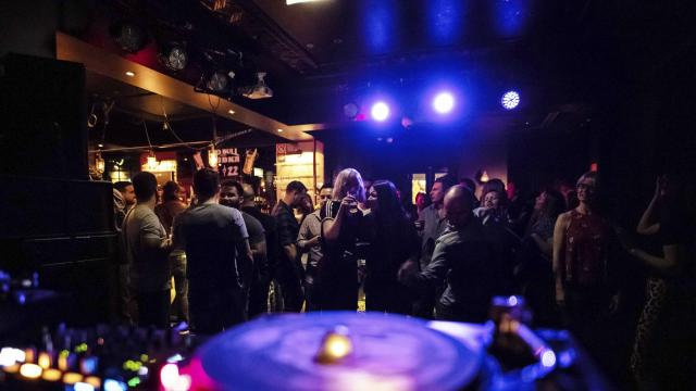 The dance floor at the Bank Hotel in Newtown, an area outside the lockout zone, in Sydney, Sept, 22, 2018. As people seek to avoid the curfews of the lockout zone — along with rules that ban shots after midnight and other restrictions — Newtown often feels overwhelmed. (Brook Mitchell/The New York Times)