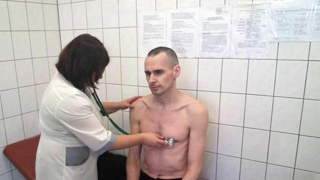 In a photo provided by the Russian Federal Penitentiary Service, the imprisoned Ukrainian filmmaker Oleg Sentsov is examined at the hospital in Labytnangi, Yamalo-Nenets region, Russia. The European Parliament on Thursday, Oct. 25, 2018, awarded the prestigious Sakharov Prize for Freedom of Thought to Sentsov, drawing renewed attention to political detainees in the far-flung prison system once known as the gulag. (Russian Federal Penitentiary Service via The New York Times) -- EDITORIAL USE ONLY --