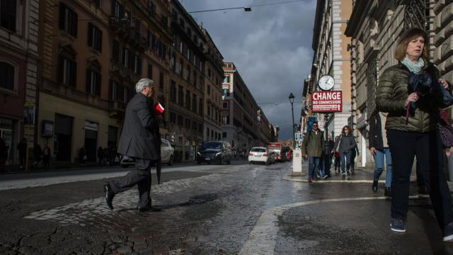 """FILE — Potholes on the Via Nazionale, a main thoroughfare in central Rome, March 11, 2018. Support for Matteo Salvini has grown so strong that he appears to have started thinking the unthinkable: conquering Rome with candidate for mayor, and thus governing a capital his anti-immigrant party once explicitly ran against and disparaged as the """"Great Thief."""" (Nadia Shira Cohen/The New York Times)"""