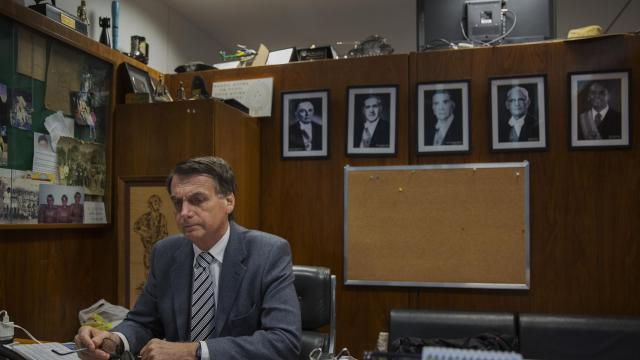 FILE -- Jair Bolsonaro, the far-right politician, at his office in Brasília, Brazil, Oct. 18, 2017. Bolsonaro, Brazil's newly elected president, has made countless anti-democratic, racist and homophobic statements during his rise to power. We look at some of them. (Lalo de Almeida/The New York Times)