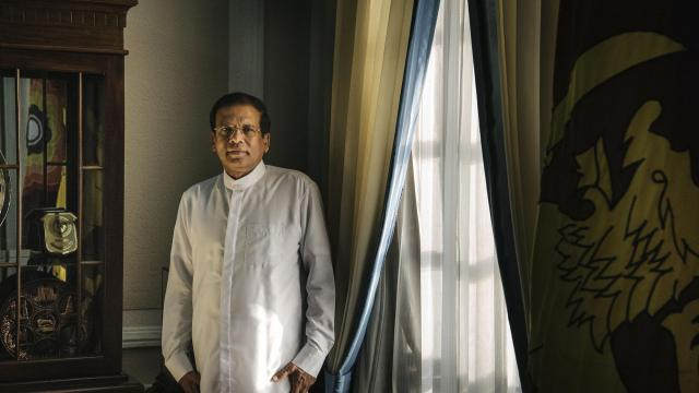 FILE -- President Maithripala Sirisena of Sri Lanka in his office in Colombo, May 4, 2016. Sirisena was elected in 2015 on promises to investigate his predecessor and undo deals with China. Now he has become an agent of the attempted comeback of the man he replaced, Mahinda Rajapaksa. (Sergey Ponomarev/The New York Times)