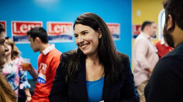 Republican Michigan congressional candidate Lena Epstein smiles as she greets guests during her campaign-office opening event in Commerce Charter Township, Michigan, on May 5. Rachel Woolf for the Washington Post via Getty Images