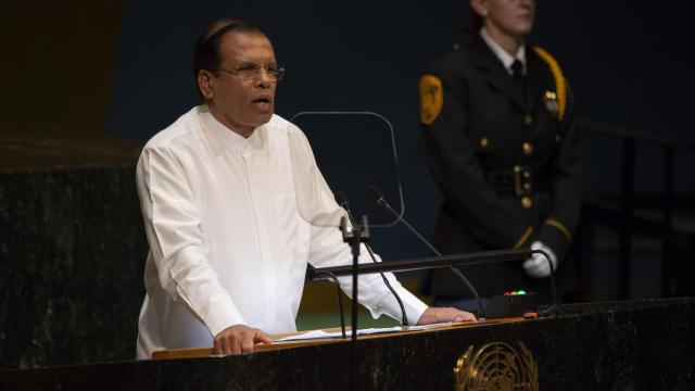 FILE — President Maithripala Sirisena of Sri Lanka addresses the United Nations General Assembly in New York, Sept. 25, 2018. Sri Lanka's political crisis deepened Friday as parliamentarians refused to recognize Sirisena's appointment of a new prime minister amid rising tensions and accusations of millions of dollars in bribes. (Dave Sanders/The New York Times).
