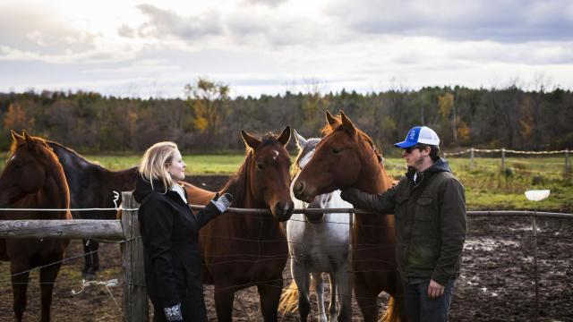 Jenny Hanley, an addictions counselor, with Jared Kaye, an addict taken in by Hanley, on her family farm near Flesherton, Ontario, Oct. 20, 2018. Canadian teenagers smoke more marijuana than youths anywhere else in the world, but the government hopes legalization will change that. (Tara Walton/The New York Times)