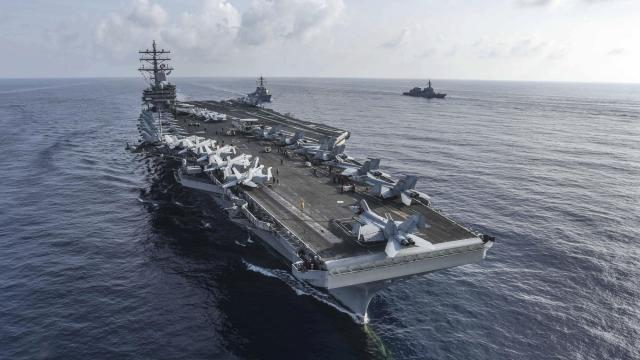 A file photo provided by the U.S Navy shows the USS Ronald Reagan carrier during a joint exercise with Japan in the South China Sea, on Aug. 31, 2018. A U.S. Navy F/A-18 Super Hornet warplane crashed into the sea northeast of the Philippines on Nov. 12, 2018, the second crash in less than a month involving aircraft from the USS Ronald Reagan. The aircraft had a mechanical problem during routine operations in the Western Pacific, the Navy's Seventh Fleet said in a statement. (Spc. 2nd Class Kaila V. Peters/U.S. Navy via The New York Times) -- FOR EDITORIAL USE ONLY. --