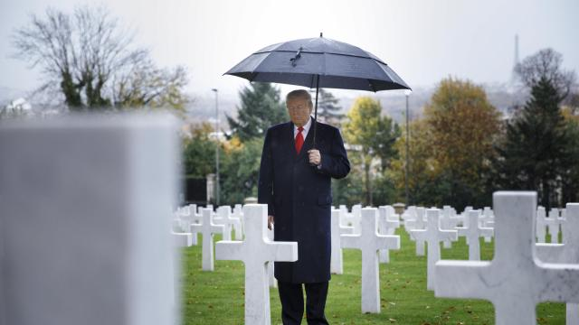 President Donald Trump visits the Suresnes American Cemetery in Suresnes, France, Nov. 11, 2018. Trump is joining other world leaders in France in commemoration of the 100th anniversary of the end of World War I. (Tom Brenner/The New York Times)