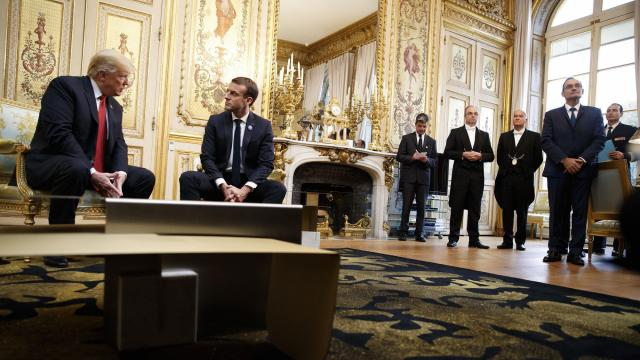President Donald Trump and President Emmanuel Macron of France during a meeting in Paris, Nov. 10, 2018. President Trump issued a blistering personal attack on Tuesday against President Emmanuel Macron of France, his host last weekend, and sought to douse a furor over his decision not to visit a cemetery of American soldiers while in France because of rain. (Tom Brenner/The New York Times)
