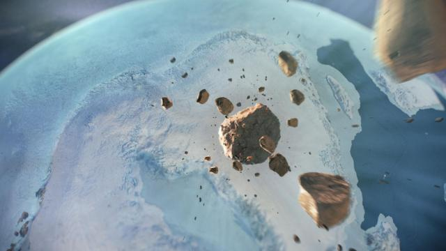 In a handout image, an artist''s depiction of a meteor headed toward northwest Greenland. Buried beneath a half mile of snow and ice in Greenland, scientists have uncovered an impact crater large enough to swallow the District of Columbia. The finding suggests that a giant iron asteroid smashed into what is today a glacier during the last ice age, an era known as the Pleistocene Epoch that started 2.6 million years ago. (Natural History Museum of Denmark/Cryospheric Sciences Lab/ NASA Goddard Space Flight Center via The New York Times) -- NO SALES; FOR EDITORIAL USE ONLY WITH NYT STORY ICELAND-CRATER-GLACIER BY NICHOLAS ST. FLEUR FOR NOV. 14, 2018. ALL OTHER USE PROHIBITED. --