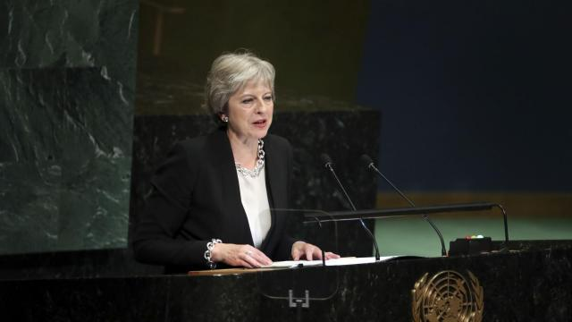 FILE-- British Prime Minister Theresa May addresses the United Nations General Assembly at U.N. headquarters in New York, Sept. 26, 2018. May faced down hard-line critics on Nov. 14, 2018, and won the support of a jittery and divided cabinet for a plan to quit the European Union, preserving her push to avert an economically damaging rupture with the bloc in March. (Chang W. Lee/The New York Times)