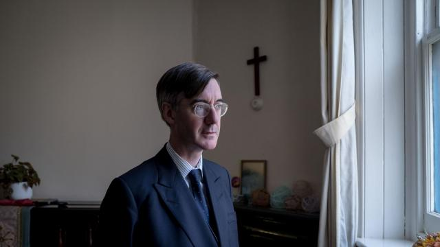 """FILE -- Jacob Rees-Mogg, a Conservative MP once dubbed the """"Honorable member for the 18th century"""" because of his perceived antediluvian ways, in Radstock, England, Sept. 15, 2017. Twitter users lampooned Rees-Mogg with torrent of baroque and distinctly British curses after the hard-line Brexiter called for a vote of no-confidence against Prime Minister Theresa May. (Andrew Testa/The New York Times)"""