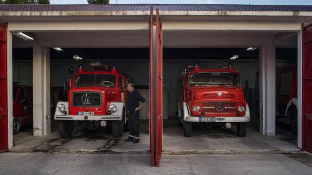 Sabir Golos at his fire station in Mostar, Bosnia, where there are two separate fire brigades — one made up mostly of Muslims, like him, and a second one staffed by Catholic Croats, Nov. 6, 2018. Bosnia's divisions offer a dark lesson in how, once cleaved apart by fear and fighting, communities can stay splintered long after many people have forgotten what it was that pushed them apart. (Laura Boushnak/The New York Times)