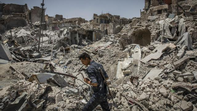 FILE -- Destruction along the front lines in the fight to retake Mosul, Iraq, from the Islamic State, July 15, 2017. Nearly four times as many Sunni Islamic militants are operating around the world today as on Sept. 11, 2001, despite nearly two decades of American-led campaigns to combat Al Qaeda and the Islamic State, a new independent study concludes. (Ivor Prickett/The New York Times)