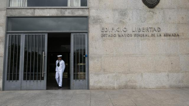 FILE -- An officer at the headquarters of Argentina's Navy, in Buenos Aires, Nov. 17, 2018. Families of some of the 44 crew members who sank with the San Juan want it salvaged, but experts question the operation. (Erica Canepa/The New York Times)