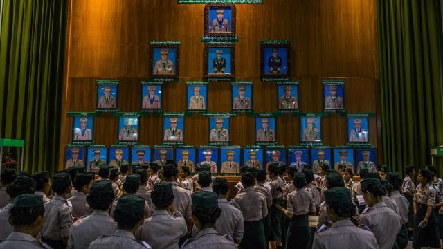 In an exhibition recounting Myanmar's martial history, the portrait of Senior Gen. Min Aung Hlaing hangs at the top of a pyramid of military leaders, at the Defense Services Museum in Naypyitaw, Oct. 13, 2018. Even in a city filled with reminders of the military's might, the country's sprawling museum, set on 600 acres, perhaps best showcases the mind-set of a military force preoccupied with its reputation and showing off its power. (Minzayar Oo/The New York Times)