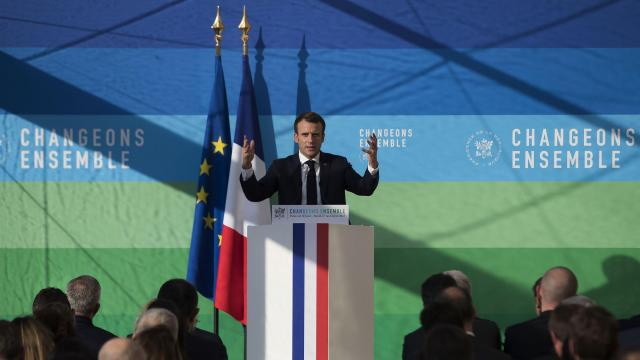President Emmanuel Macron of France speaks at a meeting focused on environmental issues in Paris, Nov. 27, 2018. On a day when he had long planned to promote his green energy program, Macron was instead forced to devote much of his speech to the mass protests that seem to have sprung up out of nowhere, convulsing the country. (Ian Langsdon/Pool via The New York Times) -- FOR EDITORIAL USE ONLY --