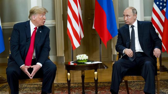 FILE -- President Donald Trump meets with President Vladimir Putin of Russia at the the presidential palace in Helsinki, July 16, 2018. Russia's seizure of three Ukrainian ships has complicated Trump's plan to meet with Putin while the two are in Buenos Aires for the Group of 20 summit meeting. (Doug Mills/The New York Times)
