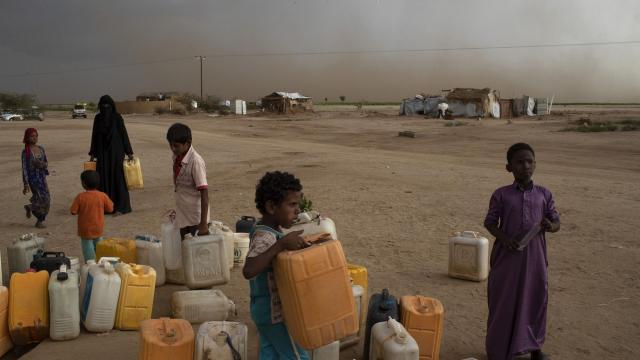 FILE -- A water collection point in Bani Hassan, Yemen, Oct. 18, 2018. The biggest challenge in 2019 will be the three-year old conflict in Yemen, which has driven millions toward famine and has given the country the status of the world's worst humanitarian crisis, the United Nations reports. (Tyler Hicks/The New York Times)