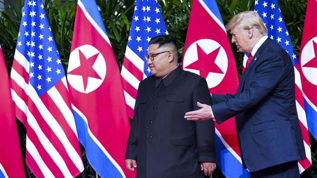 FILE — President Donald Trump and the North Korean leader, Kim Jong-un, at their summit in Singapore, June 12, 2018. Trump plans to hold a second summit meeting early next year with Kim, even though North Korea has failed to follow through with promises to start dismantling its nuclear weapons program, John Bolton, the national security adviser, said on Dec. 4. .(Doug Mills/The New York Times)