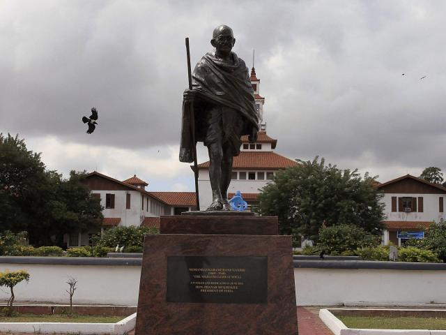 Gandhi statue pulled down in Ghana after controversy over 'racist' writings