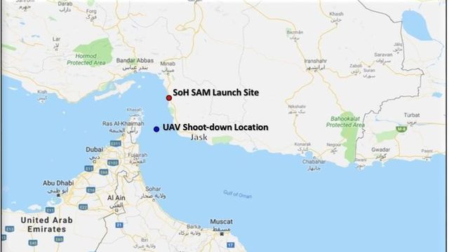 Map of the location where a U.S. drone was shot down by Iran on Thursday, and the location where the missile was launched, provided by the Defense Department. (Defense Department)