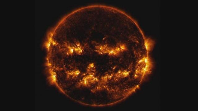 NASA shared a spooky image of the Sun looking like a flaming jack-o'-lantern.