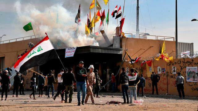 US Embassy security personnel fires rubber bullets at Baghdad protesters in second day of unrest