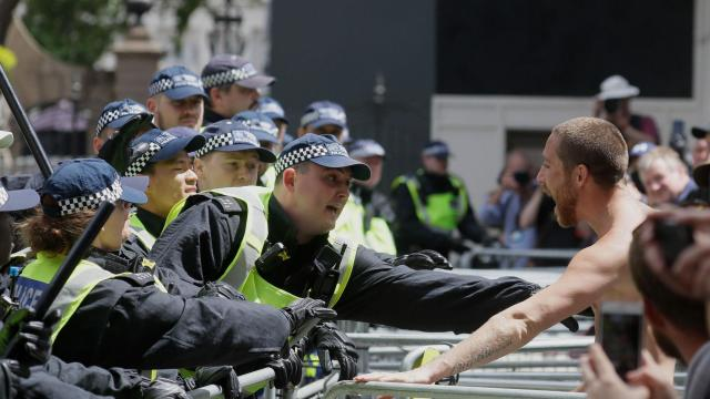 Scores arrested after far-right groups target anti-racism protests in London and Paris
