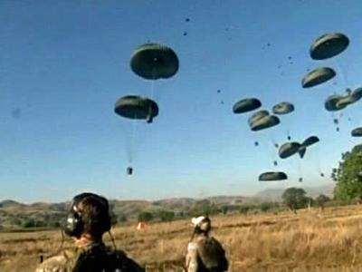 A crew from Pope Air Force Base dropped thousands of pounds of supplies to Haiti on Thursday.