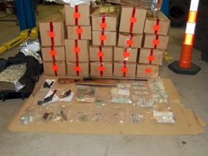 Afterward, Investigators in Woodbridge, Conn., seized 588 pounds of marijuana worth an estimated $1.8 million, $102,000 in cash, firearms, drug paraphernalia and other illegal drugs in a drug bust Thursday night.