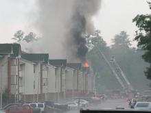 Firefighters battled a blaze that broke out at the Rivers Edge complex in Spring Lake on Tuesday, June 12, 2007. (M. Bradley photo)