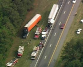Traffic slowed on I-95 north of Rocky Mount on Monday afternoon after a tractor-trailer accident.