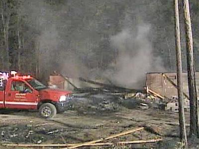 A fire completely destroyed an unoccupied house in Bunn on the night of July 6, 2007.