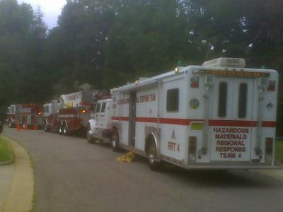 Hazardous materials crews respond to a chlorine spill that forced the evacuation of pool club and part of a park in Cary on Saturday, August 11.