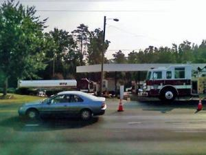 Crews temporarily closed the intersection of Penny and Ten Ten roads Monday morning after a fuel spill at a Texaco gas station.