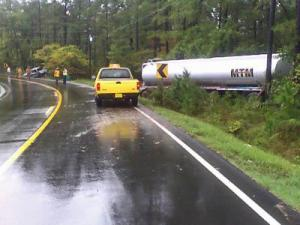 N.C. Highway 96 was closed after a wreck involving a gasoline tanker.