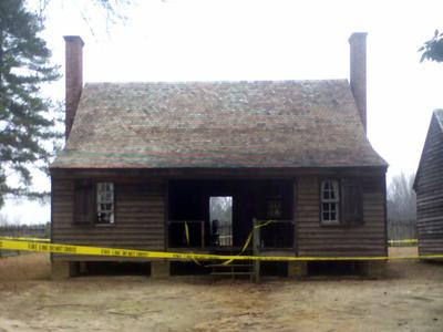 Fire damaged part of the main house at the Gov. Charles B. Aycock Birthplace in Fremont, Wayne County, on Jan. 30, 2008.