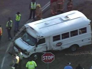 A day care bus was hit by a Jeep Monday afternoon in Sanford, police said.
