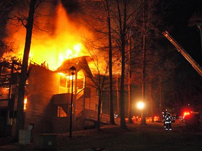 A fire spread through Raleigh's Governors Point Apartments on Saturday, Feb. 2, 2008. (Photo Courtesy of Michael Greenham)