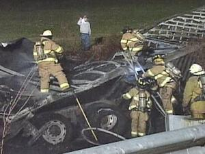 A tractor-trailer crash stalled traffic Wednesday, Feb. 20, 2008, on Interstate 85 in Vance County.