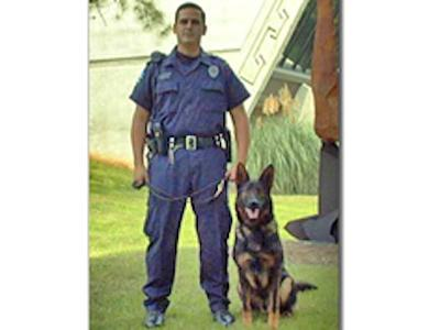 Chapel Hill police officer Gabe Shinn with his K9 partner, KC.