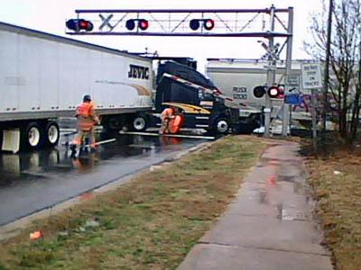 A tractor-trailer and a freight train collided in Cary on March 7, 2008. (Photo courtesy of Harold Elixson)