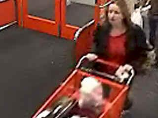 This surveillance video shows a woman alleged to have used stolen credit cards at Target and Best Buy Feb. 1.