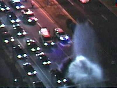A water-main break sent a plume of water dozens of feet in the air at Western Boulevard and Avent Ferry Road late Thursday, March 20, 2008. (Raleigh SkyCam)