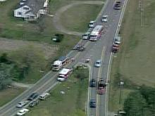 Aerial footage from Sky5 of a wreck that shut down N.C. Highway 210 in Smithfield on April 10, 2008.