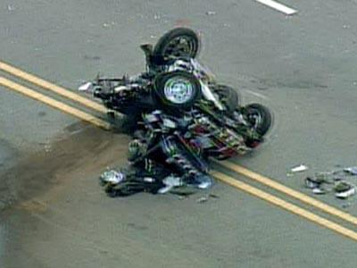 A motorcycle and a sport-utility vehicle were involved in a wreck that closed N.C. Highway 210 on Thursday, April 10, 2008.