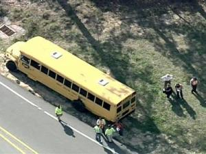 Twenty-three students were on the bus, but none were injured.