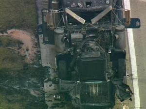Interstate 40 east, near Exit 325 in Benson, was shut down briefly Monday morning due to a tractor-trailer fire.
