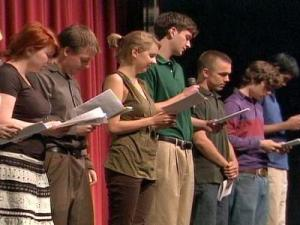 Friends of Irina Yarmolenko read her poetry aloud during the memorial Saturday, May 17, 2008.